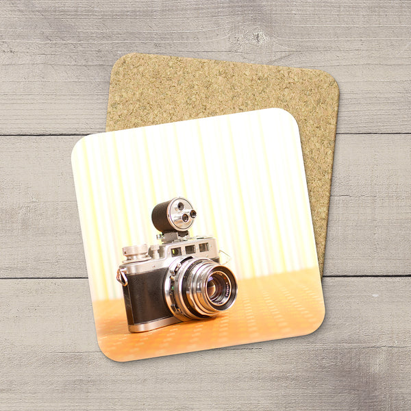 Decor for Photography Studio or Man Cave. Photo Coasters featuring a Vintage Diax IIa Rangefinder Camera by Larry Jang, an Edmonton based artist & photographer.