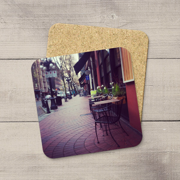 Photo coasters of a cafe on Water Street Vancouver BC by Larry Jang