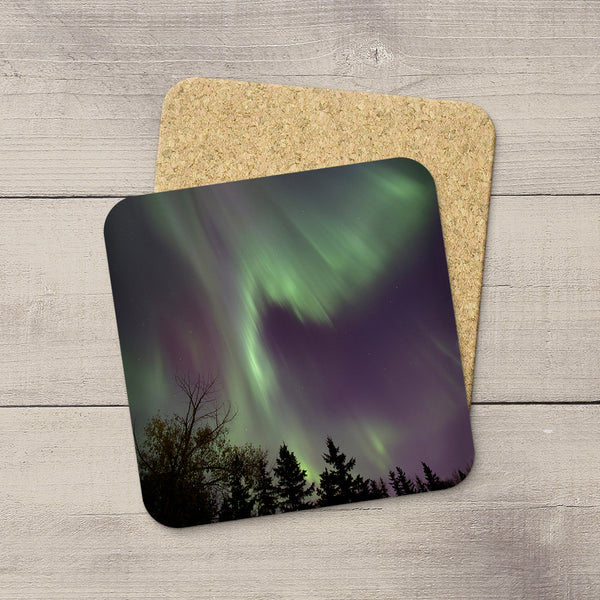 Photo coasters of Northern Lights raining down like waves. Souvenirs of Aurora Borealis by Canadian Photographer, Larry Jang.