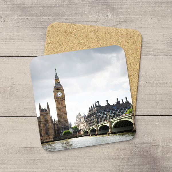 Beverage coasters featuring Big Ben, Parliament and Westminster bridge in London England by Larry Jang.