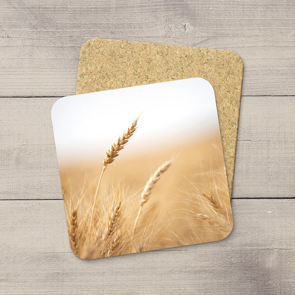 Wheat heads picture hand printed on beverage coasters by Canadian Prairies photographer Larry Jang