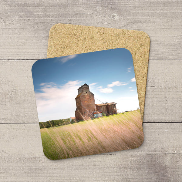 Drink Coasters hand printed with a photo of Kingman grain elevator by Larry Jang
