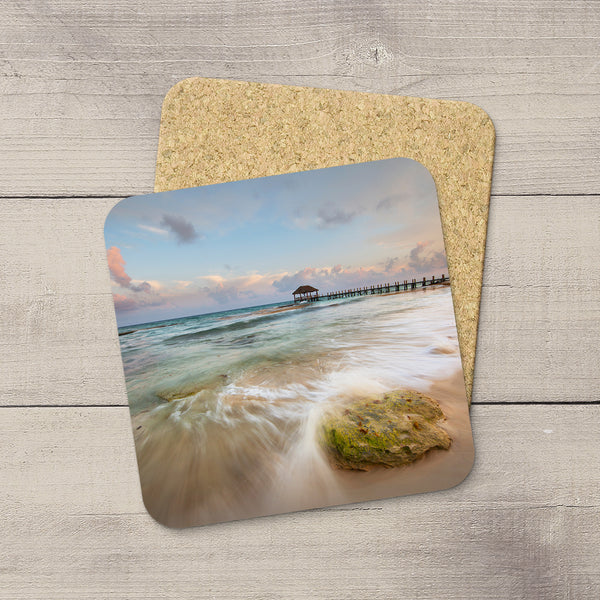 Photo Coasters of waves crashing on the shores of Playa Del Carmen in Mexico. Souvenirs & travel themed home accessories. Handmade in Edmonton, Alberta by Canadian photographer & artist Larry Jang.