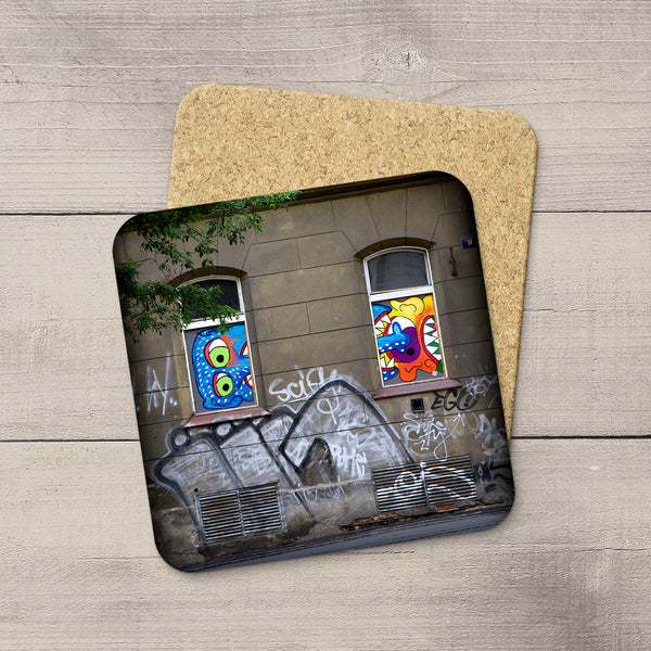 Home Accessorie. Coasters of Graffiti and window art in Prague, Czech Republic by Larry Jang.