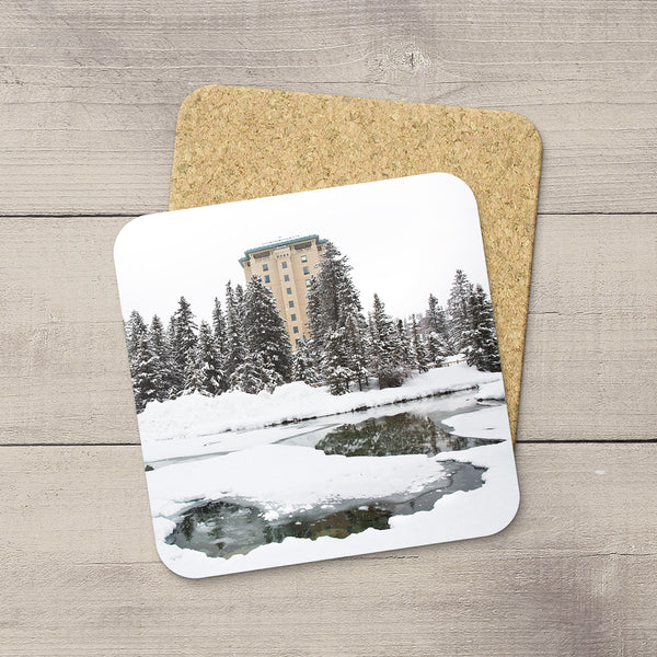 Photo Coasters of Fairmont Chateau Louise in Lake Louise, Banff National Park, Canada. Winter Wonderland. Handmade in Edmonton, Alberta by Canadian photographer & artist Larry Jang.