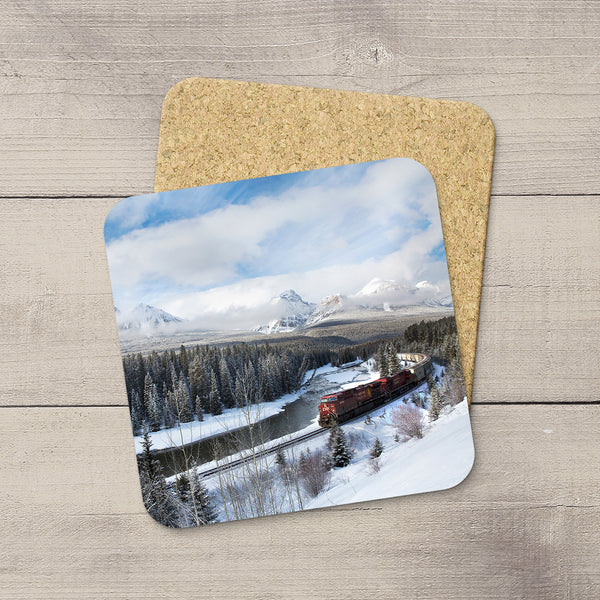 Photo Coaster of CP Rail Freight Train passing Morant's Curve in Banff National Park. Handmade in Edmonton, Alberta by Canadian photographer & artist Larry Jang.