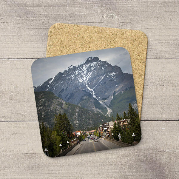 Photo Coasters of town of Banff & Cascade Mountain in Canadian Rockies. Handmade in Edmonton, Alberta by Canadian photographer & artist Larry Jang.