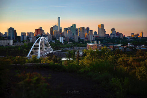 Image of Edmonton Skyline, Walterdale Bridge & Rossdale Power Plant from Saskatchewan Drive at sunset. Timeless postcard images of YEG.