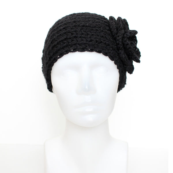 Black Buttoned Knit Headband with Flower