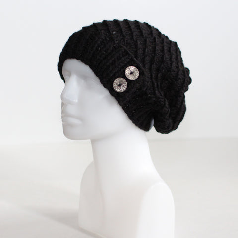 Black Slouchy Knit Toque with Buttons