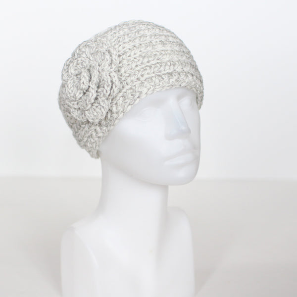 Marble Buttoned Knit Headband with Flower