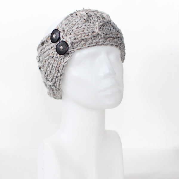 Speckled Gray Crisscross Double Button Knit Headband