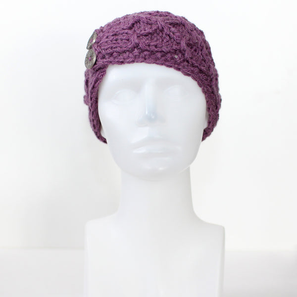 Orchid Purple Crisscross Double Button Knit Headband