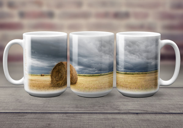 Big oversized Mugs for Hot Drinks featuring a wrap around image of a hay bale sitting in a farmers field in Southern Alberta. Great gift idea that celebrates Life in the Canadian Prairies. Handmade in Edmonton, Canada by photographer & artist Larry Jang.