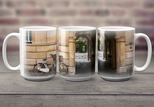 Big oversized Coffee Mugs featuring a wrap around image of a white bicycle in University of Cambridge in England. Great gift idea for the cyclist in your life. Handmade in Edmonton, Canada by photographer & artist Larry Jang.