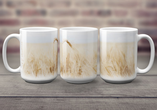 Big oversized Mugs for Hot Drinks featuring a soft, pretty wrap around image of a barley field. Great gift idea that celebrates Life in the Canadian Prairies. Handmade in Edmonton, Canada by photographer & artist Larry Jang.