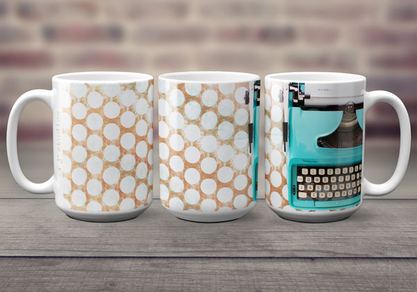 Big oversized Coffee Mugs for writers. Featuring an image of a pretty vintage Typewriter typing a Dear Life letter.  Great gift idea. Handmade in Edmonton, Alberta, Canada by photographer & artist Larry Jang.