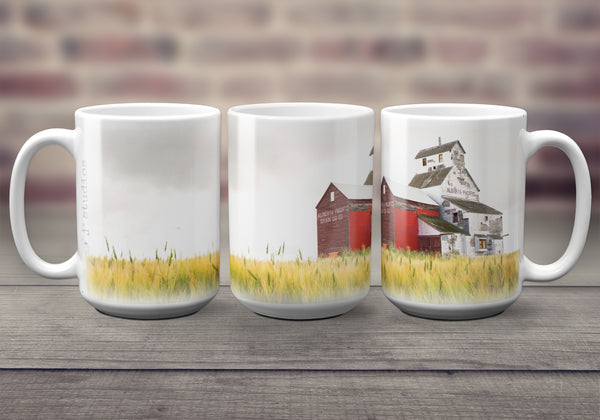 Big oversized Coffee Mugs featuring a pretty picture of the Raley grain elevator sitting in a field. Great gift idea that celebrates Life in the Canadian Prairies. Handmade in Edmonton, Alberta, Canada by photographer & artist Larry Jang.