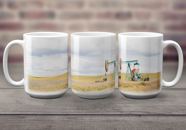 Big oversized Coffee Mugs featuring a picture of an oil pump jack sitting in a farmers field in Southern Alberta. Great gift idea that celebrates Life in the Canadian Prairies. Handmade in Edmonton, Canada by photographer & artist Larry Jang.