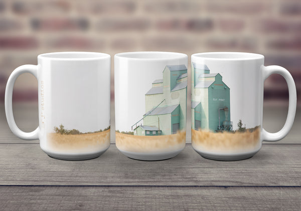 Big oversized Mugs for Hot Drinks featuring a wrap around image of Elk Point Alberta Pool grain elevator. Great gift idea for him or her that celebrates Life in the Canadian Prairies. Handmade in Edmonton, Canada by photographer & artist Larry Jang.