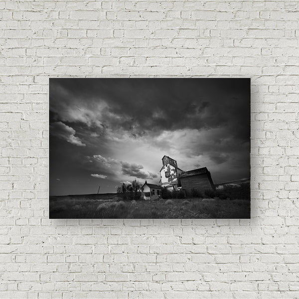 Black and White Art Print of Storm Clouds forming Over Grain Elevator in Alberta Badlands