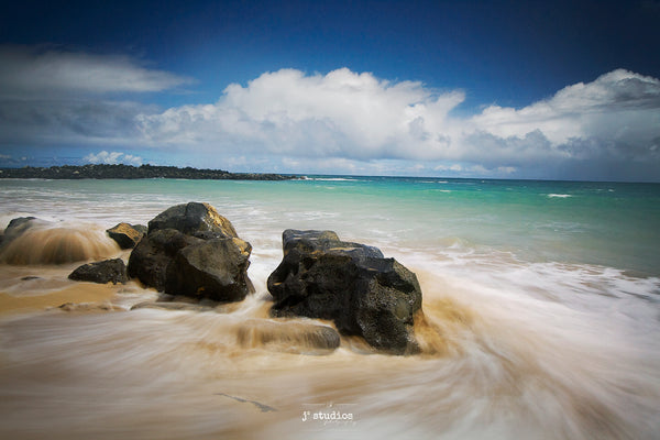 Photograph of waves crashing and receding on white sand beach in Kauai Hawaii, Peaceful picture. Meditative art print.
