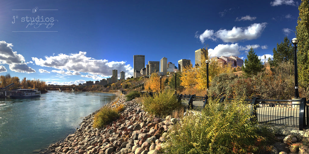 Art print of the City of Edmonton in the fall. Panorama of the river valley, North Saskatchewan River and the city skyline.