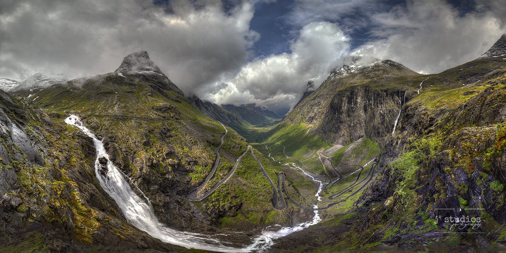 Trollstigen is an art print of the famous serpentine road in Norway.