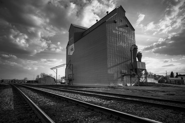 Art Print of Leduc Grain Elevator in Black and White