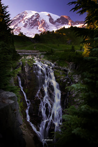 Picture of Myrtle Falls and Mount Rainier at Sunset. Landscape Photography by Larry Jang.