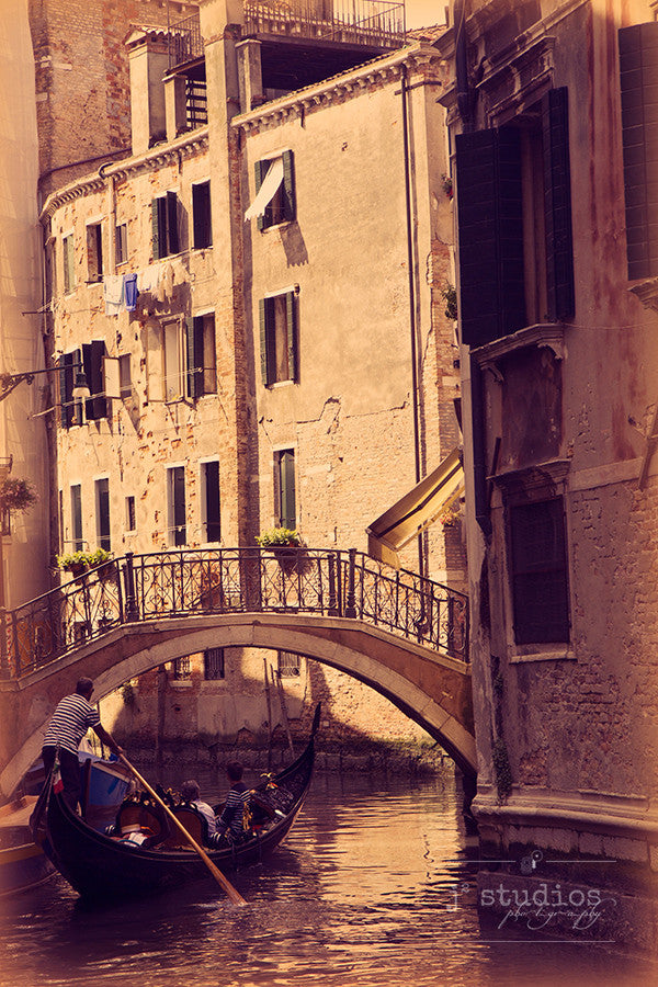 A Moment in Venice is a sentimental art print of a gondola ride down the Grand Canal.