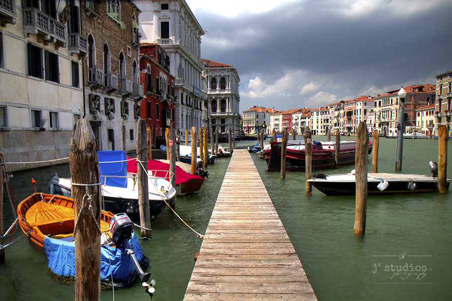 A Pier in Venice is an art print the boats, houses and Grand Canal in Venice.