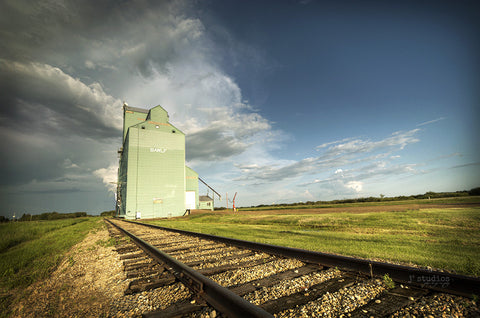 Image of the Canada Malting Grain Elevator in Bawlf Alberta. Heritage themed fine art photography.