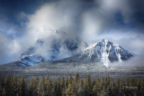 Image of the snow capped mountain peaks Aberdeen and Sheol in Banff National Park. Candadian Landscape Photography.