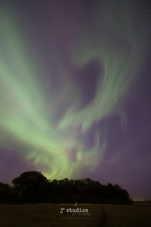 Art print of a wispy apparition vapor like aurora. Northern lights photography.