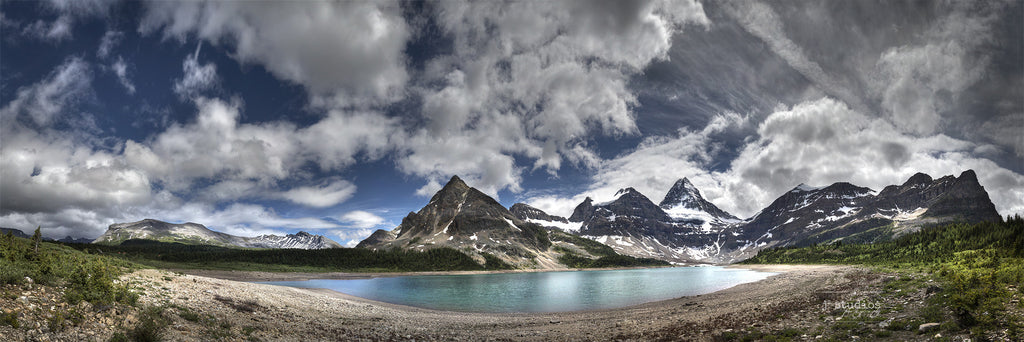 Assiniboine and Lake Magog Panorama is an art print of the famous triangle shaped mountain on the BC and Alberta border in Canada. Landscape phonography.