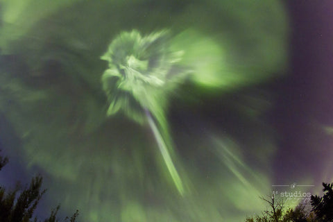 Aurora Showers is an art print of a northern lights corona during a major solar wind storm. Night Sky Photography.