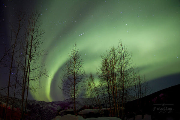 Aurora Trails is an art print of the northern lights in Alaska. Night Sky Photography.