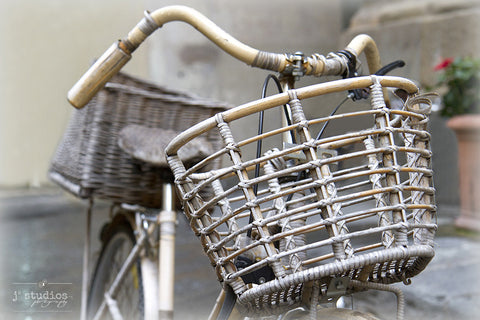 Bamboo Basket is an image of a wooden basket on a bamboo bike in Florence.