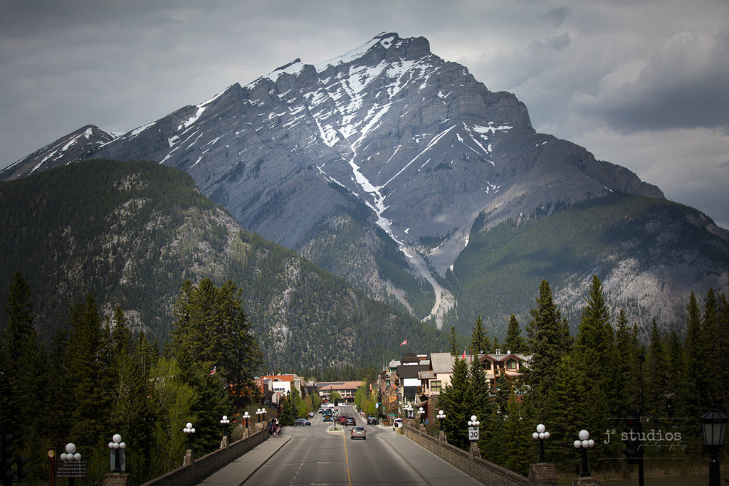 Image of the Canadian Alpine town called Banff under the rugged snow capped Cascade Mountain. Landscape Photography.