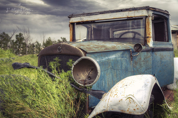 Blue Jalopy is an art print of a old blue car in Saskatchewan. Beautiful Canadian Prairie photography.