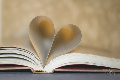 Book of Love is an art print dedicated to readers. Heart shaped.