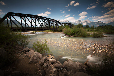 Image of a Train Trestle spanning the Athabasca River in Jasper National Park. Rugged Heritage inspired photography.