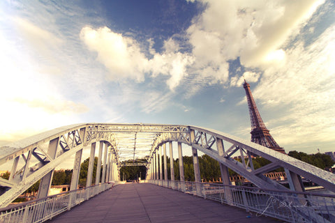 Bridge to the Eiffel is an art print of the famous landmark in Paris