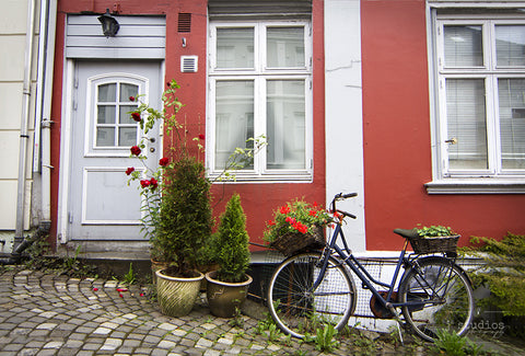 Charming in Bergen, bike print on the cobblestone streets in Norway.