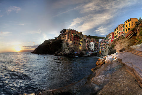 Cinque Terre, Italy, Europe, Cliffside village on the coast, sunset