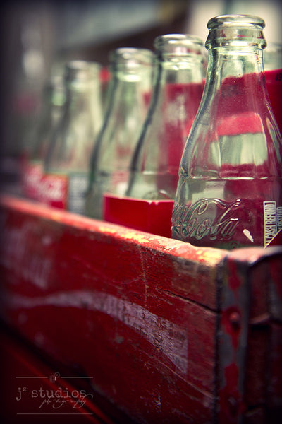 Coke Classic - vintage coke bottles in wood crate