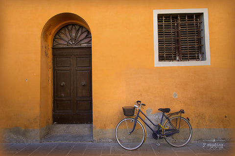 Colorful Place to Park - bike photograph art print Pisa Italy