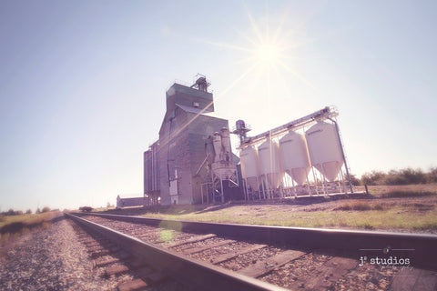 "Grain elevator image with a ""Wish you were there"" theme. Country love by the Railroad tracks in Strome, Alberta. Rural Photography."