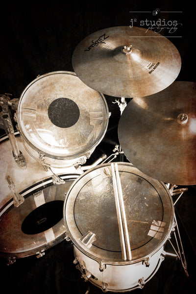 Let the Rhythms Roll - Drum set Photography Art Print